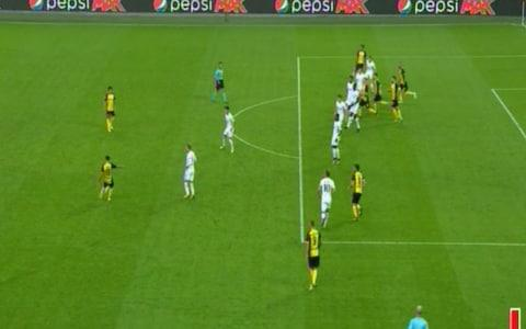 Aubameyang was onside when the ball was played into the box - Credit: BT Sport