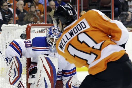 New York Rangers goalie Henrik Lundqvist, left, of Sweden, blocks a shot by Philadelphia Flyers' Eric Wellwood during the second period of an NHL hockey game, Thursday, Jan. 24, 2013, in Philadelphia. (AP Photo/Matt Slocum)