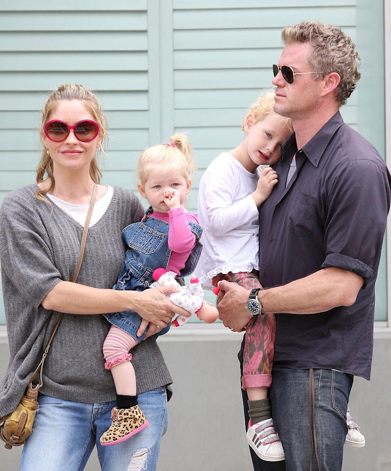 "Former ""Grey's Anatomy"" actor Eric Dane stepped out in Beverly Hills with a family befitting a guy so good looking that his character was known as ""McSteamy."" He and his wife, Rebecca Gayheart, have two daughters, 1-and-a-half-year-old Georgia and Billie Beatrice, 3. (8/5/2013)"