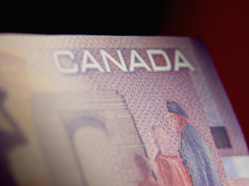 Close-up of a Canadian bank note