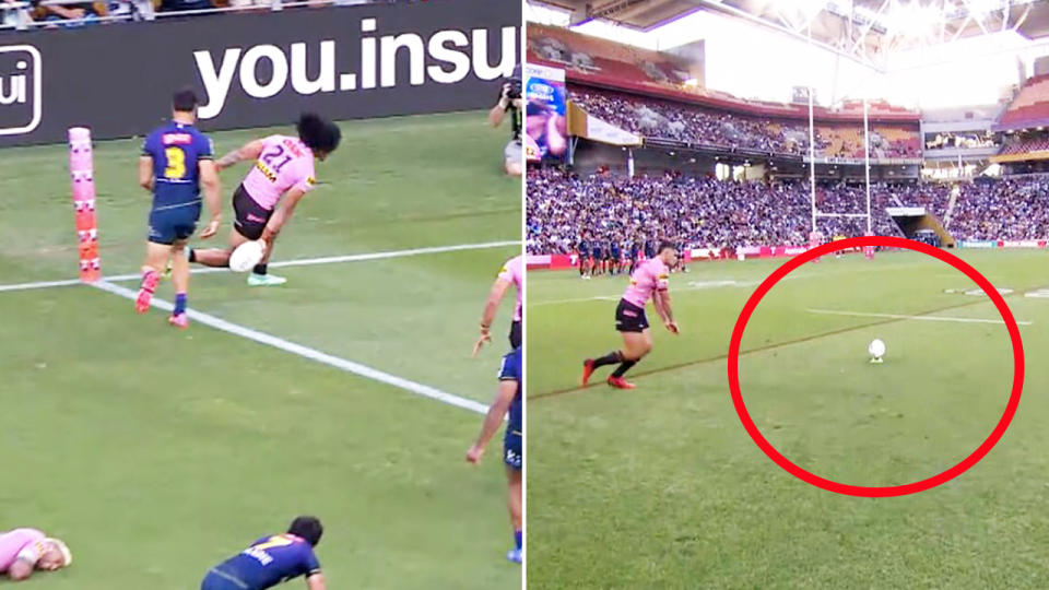 Nathan Cleary, pictured here taking the conversion from much closer than Brian To'o scored the try.