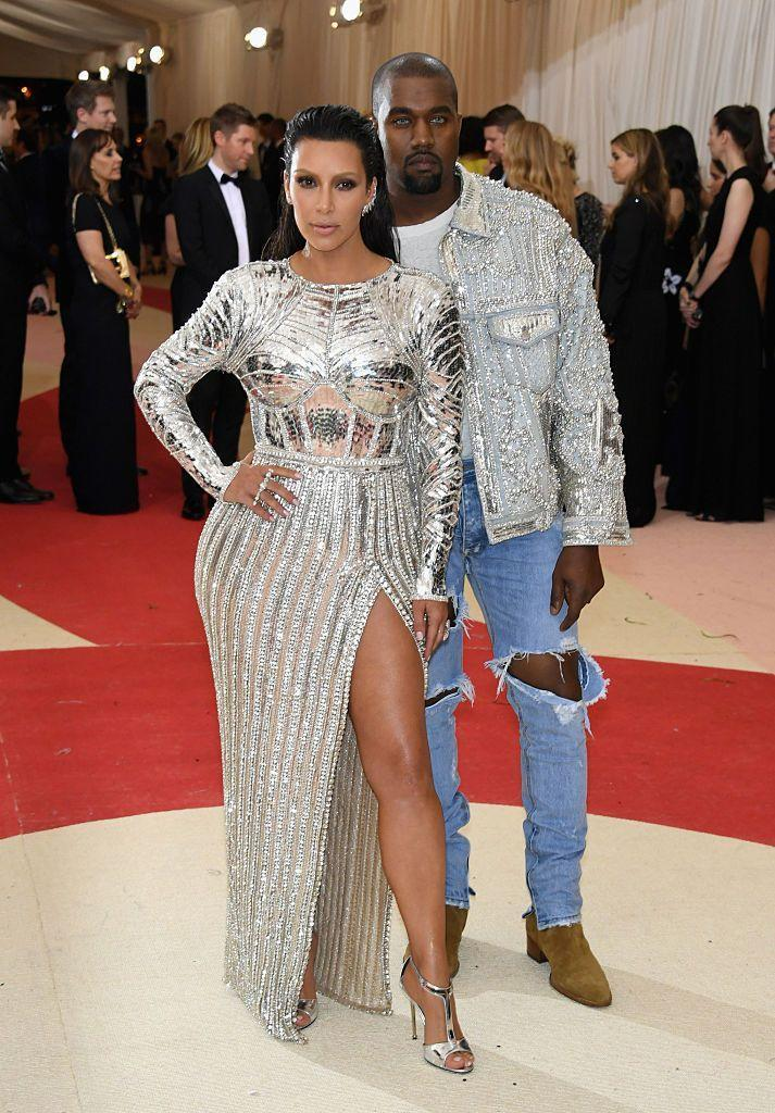 <p>For the Met Gala theme of Manus x Machina: Fashion In An Age Of Technology, the couple both wear silver Balmain.</p>