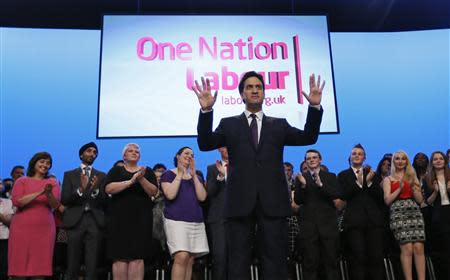 Britain's opposition Labour party leader Ed Miliband delivers his speech at the annual Labour party conference in Brighton, southern England