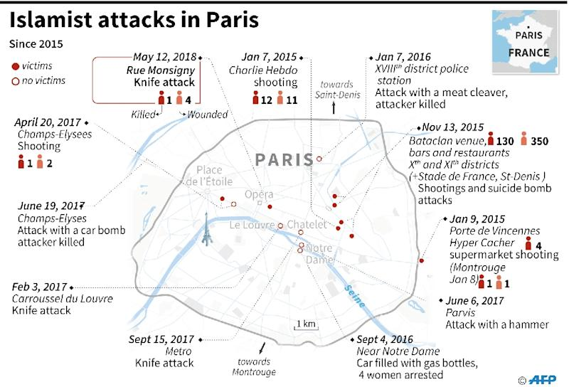 Map locating Islamist attacks in Paris since 2015. (AFP Photo/)