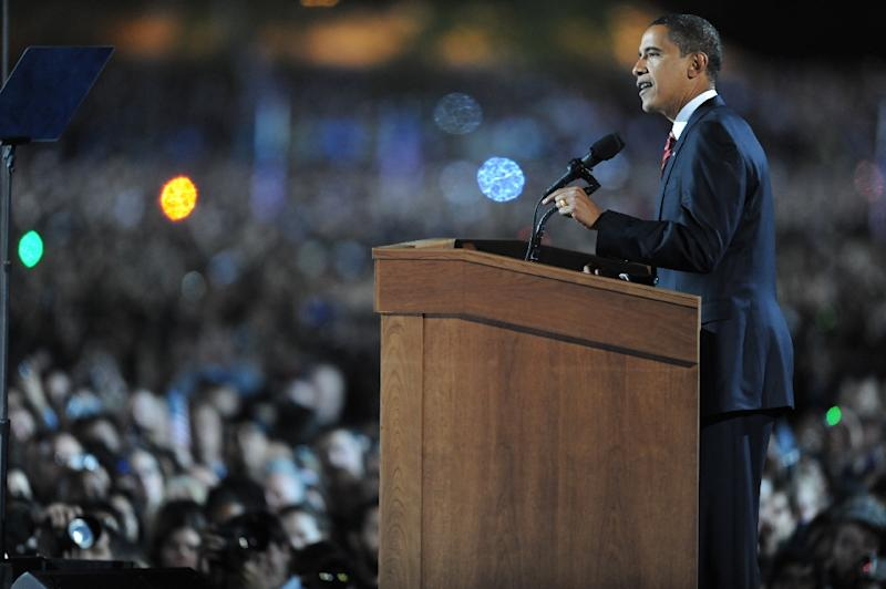 Then Democratic presidential candidate Barack Obama addresses supporters during his election night rally at Grant Park in Chicago, Illinois, on November 5, 2008