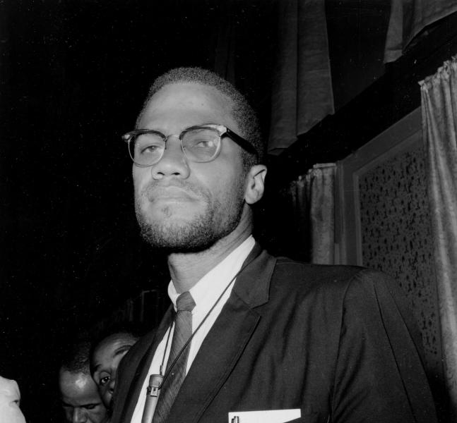 FILE - This 1963 file photo shows Malcolm X. Malcolm X's heirs are suing to block a book deal to publicize his post-Mecca diary, an agreement brokered by one of their siblings. Martin Luther King's children are quarreling over who owns his Nobel Peace Prize and his Bible. The fight over Rosa Parks' estate has her valuable mementos stuck in a New York City warehouse. (AP Photo, File)