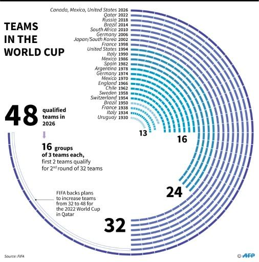 Number of teams that qualified for the World Cup finals since 1930, with a new format possible for 2022