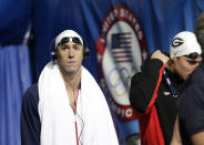 Michael Phelps before swimming in the men's 400-meter individual medley preliminaries at the U.S. Olympic swimming trials, Monday, June 25, 2012, in Omaha, Neb. (AP Photo/David Phillip)
