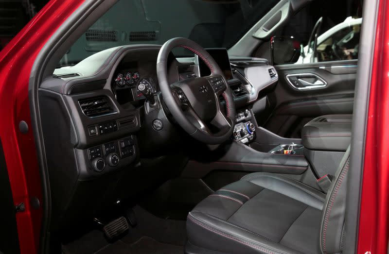 The interior of a Chevrolet 2021 Tahoe SUV is seen in Detroit,