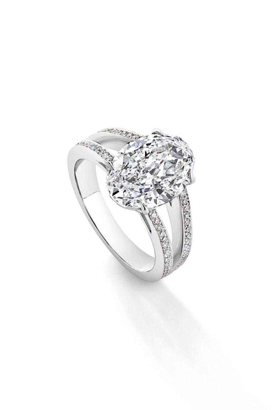 """<p><strong>Asprey</strong></p><p>asprey.com</p><p><strong>$115000.00</strong></p><p><a href=""""https://www.asprey.com/us/oval-diamond-pave-split-shank.html"""" rel=""""nofollow noopener"""" target=""""_blank"""" data-ylk=""""slk:Shop Now"""" class=""""link rapid-noclick-resp"""">Shop Now</a></p><p>Most brides opt for round or princess-cut diamonds, but an oval can have just as much sparkle and adds an out-of-the-ordinary elegance. </p>"""