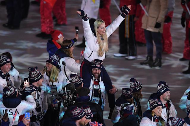<p>Lindsey Vonn and Team USA walk in the Parade of Athletes during the Closing Ceremony of the PyeongChang 2018 Winter Olympic Games at PyeongChang Olympic Stadium on February 25, 2018 in Pyeongchang-gun, South Korea. (Photo by David Ramos/Getty Images) </p>