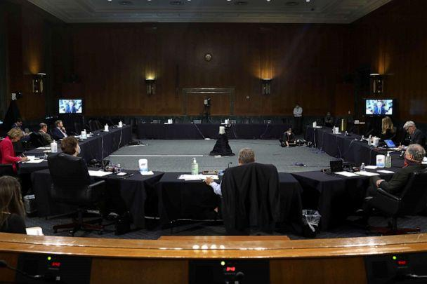 PHOTO: Dr. Anthony Fauci, director of the National Institute of Allergy and Infectious Diseases speaks remotely during the Senate Committee for Health, Education, Labor, and Pensions hearing on the coronavirus disease response, in Washington. (Win McNamee/Pool/Reuters)