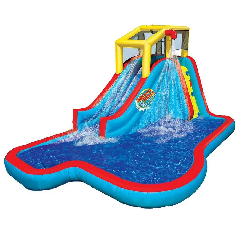 """<h2>Wayfair</h2><br>If you've graduated past kiddie pools and are inching into full-on backyard water-park territory, then Wayfair's flashy, multi-story inflatables have you covered. These aqueous McMansiosn don't come cheap, but they WILL make you the envy of the nabe.<br><br><em>Shop</em> <em>inflatable water parks at <strong><a href=""""https://www.wayfair.com/keyword.php?keyword=outdoor+inflatable+pool"""" rel=""""nofollow noopener"""" target=""""_blank"""" data-ylk=""""slk:Wayfair"""" class=""""link rapid-noclick-resp"""">Wayfair</a></strong></em><br><br><strong>Banzai</strong> 9.5' x 15.33' Inflatable Water Slide with Air Blower, $, available at <a href=""""https://go.skimresources.com/?id=30283X879131&url=https%3A%2F%2Fwww.wayfair.com%2Foutdoor%2Fpdp%2Fbanzai-95-x-1533-inflatable-water-slide-with-air-blower-azia1017.html"""" rel=""""nofollow noopener"""" target=""""_blank"""" data-ylk=""""slk:Wayfair"""" class=""""link rapid-noclick-resp"""">Wayfair</a>"""