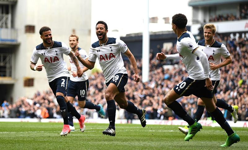 Mousa Dembele celebrates putting Tottenham ahead