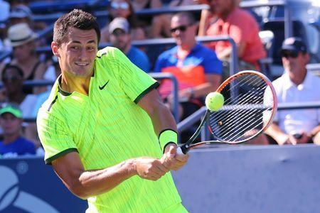FILE PHOTO: Aug 30, 2016; New York, NY, USA; Bernard Tomic of Australia returns a shot to Damir Dzumhur of Bosnia and Herzegovina (not pictured) on day two of the 2016 U.S. Open tennis tournament at USTA Billie Jean King National Tennis Center. Mandatory Credit: Anthony Gruppuso-USA TODAY Sports / Reuters Picture Supplied by Action Images