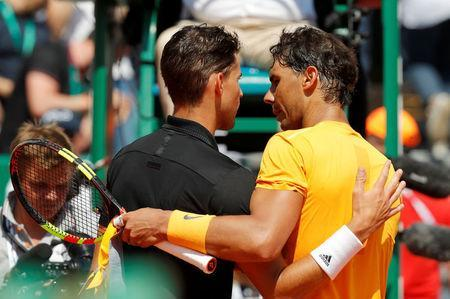 Tennis - ATP - Monte Carlo Masters - Monte-Carlo Country Club, Monte Carlo, Monaco - April 20, 2018 Spain's Rafael Nadal and Austria's Dominic Thiem after their quarter final match REUTERS/Eric Gaillard