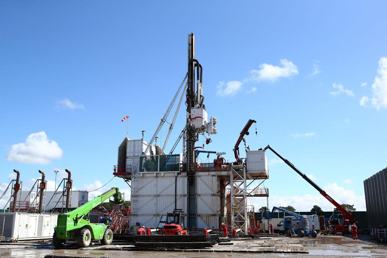 The drilling rig at Preston New Road shale gas exploration site (Cuadrilla handout)