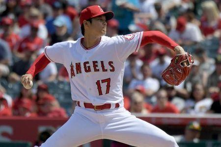 Apr 8, 2018; Anaheim, CA, USA; Los Angeles Angels starting pitcher Shohei Ohtani (17) throws against the Oakland Athletics in the second inning during a MLB baseball game at Angel Stadium of Anaheim. Kirby Lee-USA TODAY Sports