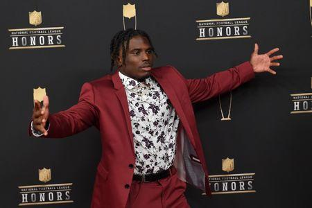 Feb 2, 2019; Atlanta, GA, USA; Tyreek Hill during red carpet arrivals for the NFL Honors show at the Fox Theatre. Mandatory Credit: Dale Zanine-USA TODAY Sports