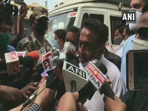 Former CM Kamal Nath speaks to the media after offering prayers at Baglamukhi Temple in Jabalpur on Sunday. (Photo/ANI)