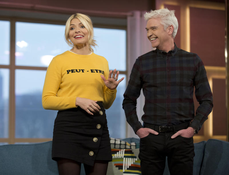 This Morning presenters Holly Willoughby and Phillip Schofield during a photocall at the ITV Studios, Southbank, London. (Photo by Isabel Infantes/PA Images via Getty Images)