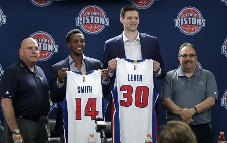 Jeff Bower (left) and Stan Van Gundy (right) got more than they bargained for in Jon Leuer (30) and Ish Smith (14). (AP)