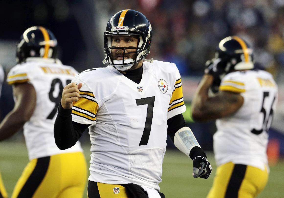 Pittsburgh Steelers quarterback Ben Roethlisberger (7) walks to the sideline after a sack and fumble recovered by the New England Patriots in the first quarter of an NFL football game Sunday, Nov. 3, 2013, in Foxborough, Mass. (AP Photo/Charles Krupa)