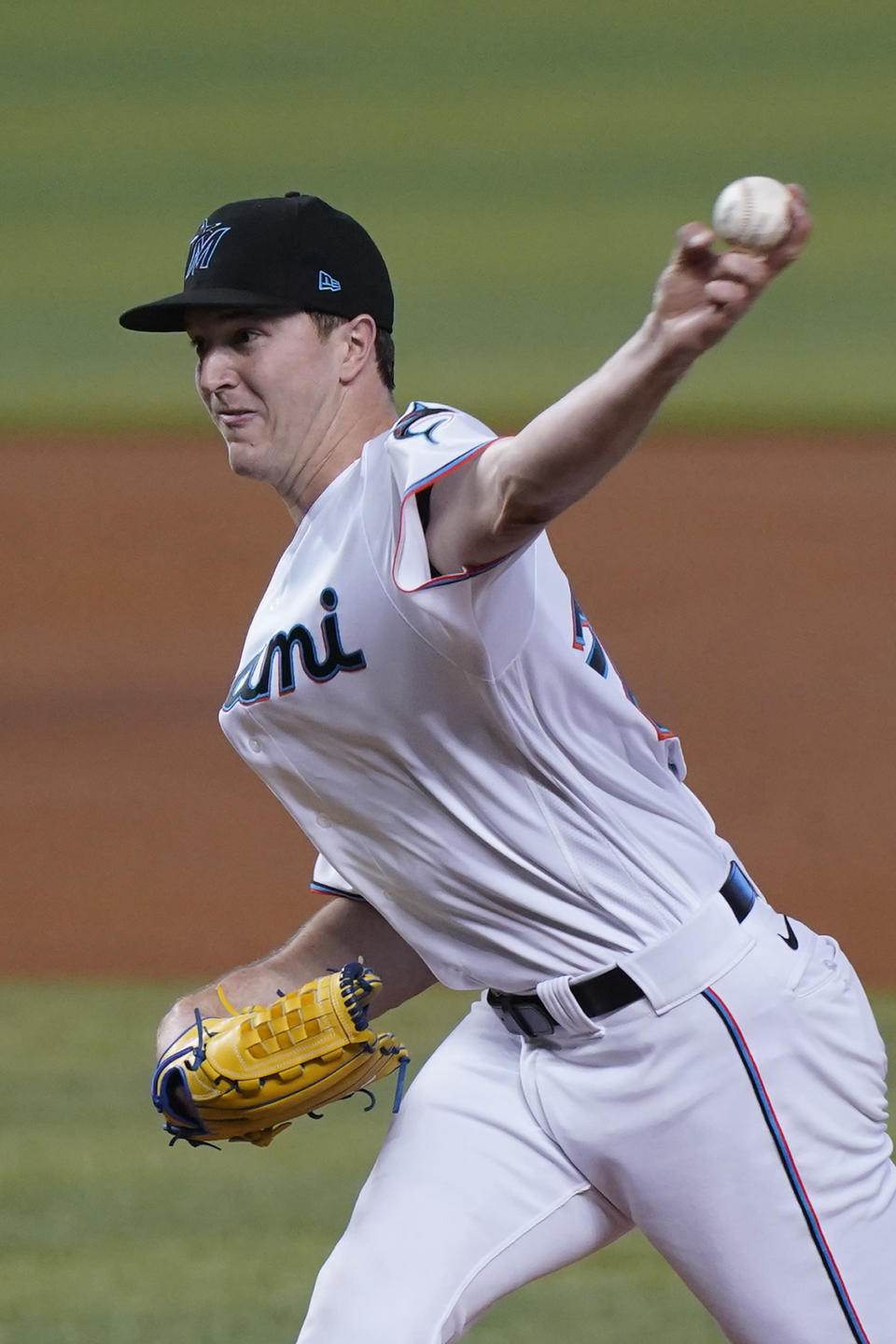 Miami Marlins' Trevor Rogers pitches during the first inning of a baseball game against the Philadelphia Phillies, Monday, May 24, 2021, in Miami. (AP Photo/Wilfredo Lee)