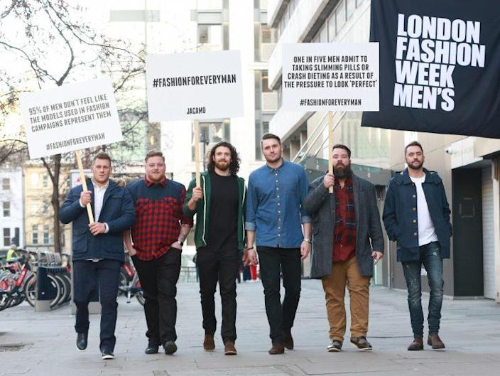 A group of 'real' male models have staged a protest on London Fashion Week Men's [Photo: Jacamo]