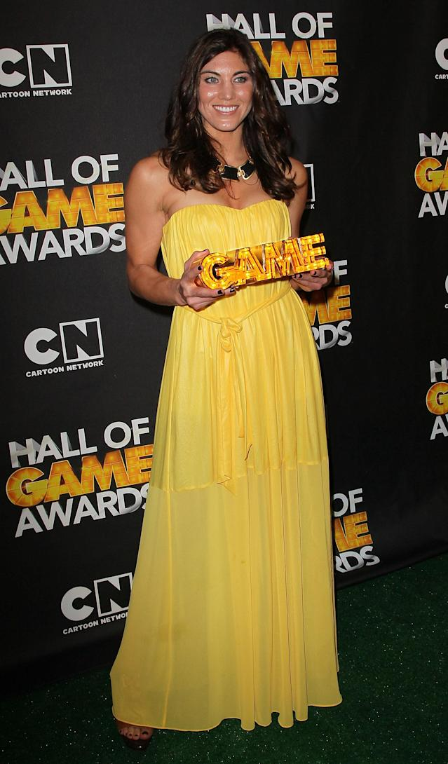 SANTA MONICA, CA - FEBRUARY 18: Soccer player Hope Solo poses in the press room during the 2nd Annual Cartoon Network Hall of Game Awards at Barker Hangar on February 18, 2012 in Santa Monica, California. (Photo by David Livingston/Getty Images)