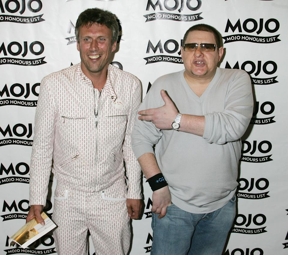 Bez and Shaun Ryder of Happy Mondays pose at The MOJO Honours List 2005. Photo by Jo Hale/Getty Images