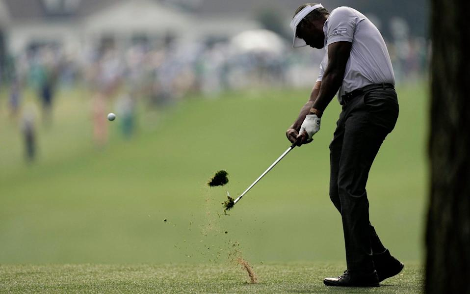 Vijay Singh, of Fiji, hits on the first fairway during the first round of the Masters golf tournament on Thursday, April 8, 2021, in Augusta, Ga - AP/Matt Slocum