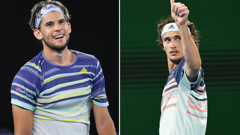 Alexander Zverev, pictured here thanking Dominic Thiem for the sporting display.