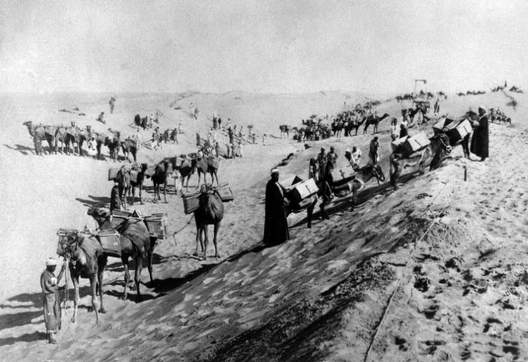 This archive photo from the 1860s shows Egyptian labourers digging out the canal, a project which involved about a million Egyptians, and cost tens of thousands of lives according to some estimates