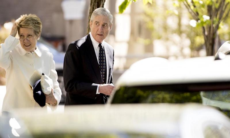 Special counsel Robert Mueller and his wife Ann Cabell Standish leave St John's Episcopal Church in Washington.