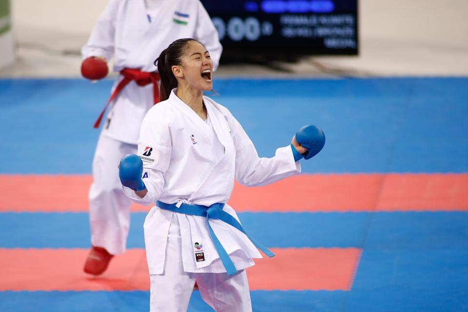 MADRID, SPAIN - DECEMBER 01: Tzu-Yun Wen of China celebrates the victory and the bronce medal won against Sevinch Rakhimova of Uzbekistan during the Premier League of Karate 1 celebrated at Madrid Arena on December 01, 2019 in Madrid, Spain. (Photo by Oscar J. Barroso / AFP7 / Europa Press Sports via Getty Images)