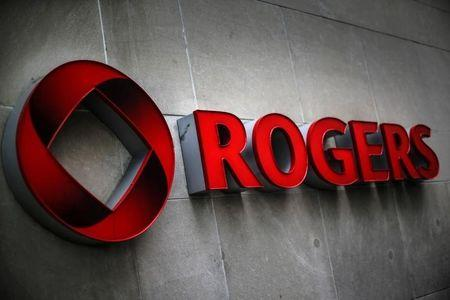 A Rogers logo is seen before the Rogers Communications Inc annual general meeting for shareholders in Toronto