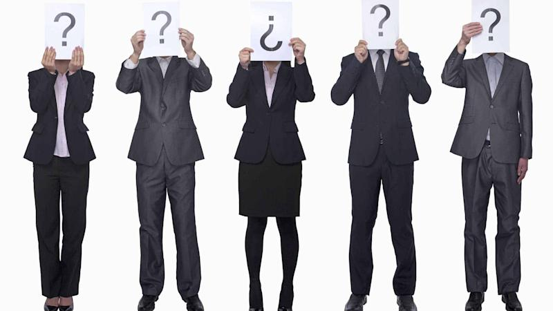 Five business people asking questions