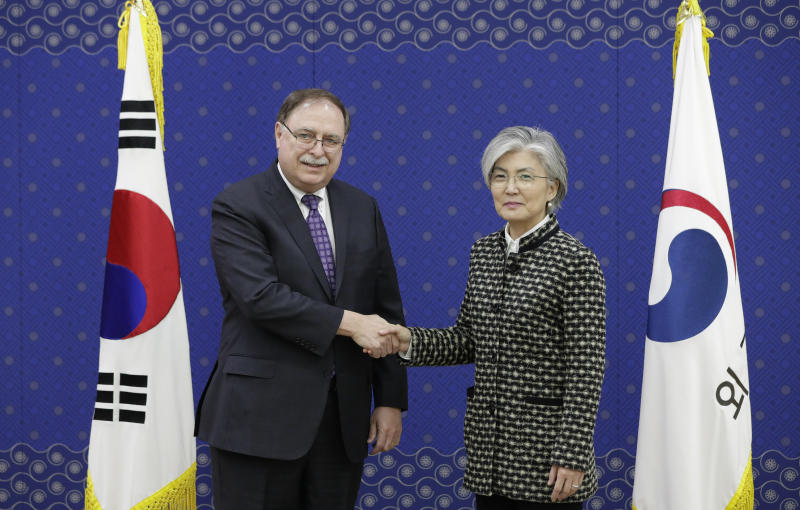 South Korean Foreign Minister Kang Kyung-wha right and Timothy Betts acting Deputy Assistant Secretary and Senior Advisor for Security Negotiations and Agreements in the U.S. Department of State shake hands for the media before their meeting at Foreig