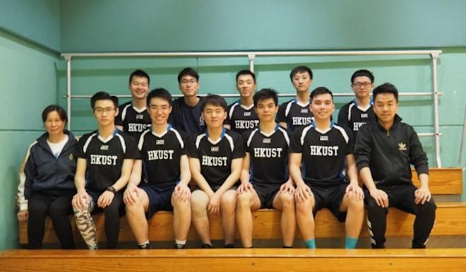Chow Tsz-lok (back row, fourth left) is pictured with his university netball team. Photo: Handout