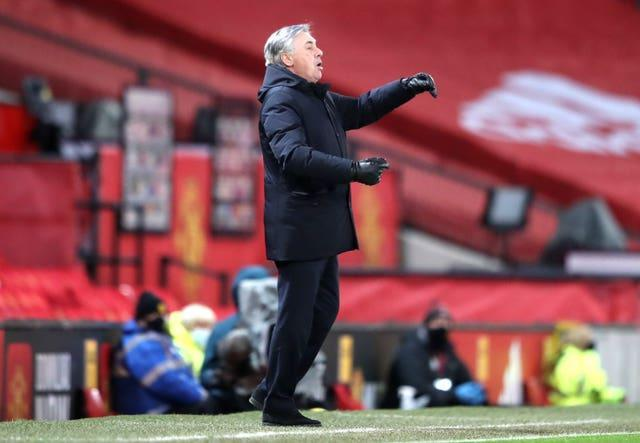 Everton manager Carlo Ancelotti believes his side were too cautious in the first half at Old Trafford