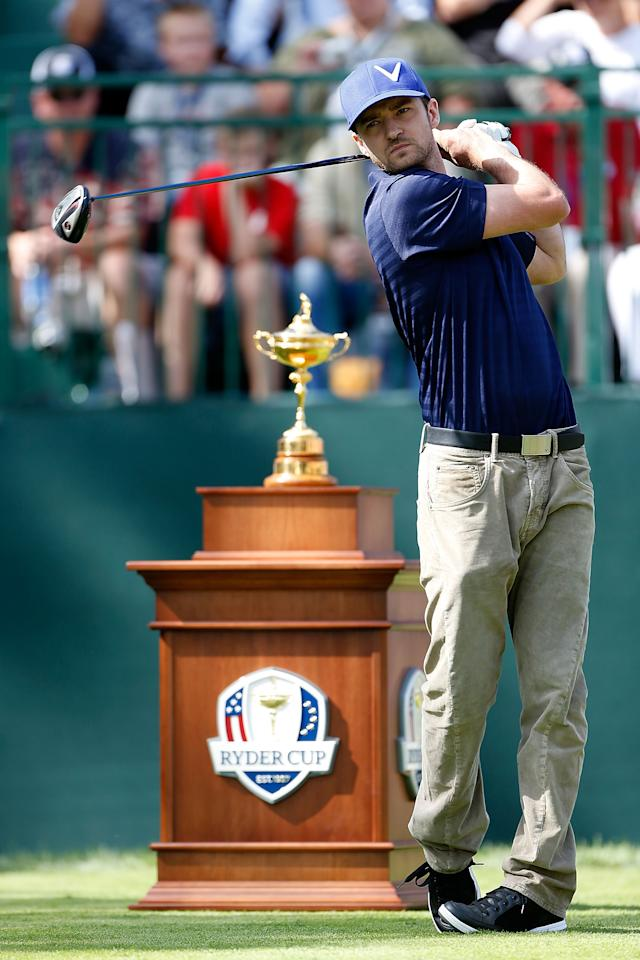 MEDINAH, IL - SEPTEMBER 25:  Hollywood star Justin Timberlake watches a tee shot during the 2012 Ryder Cup Captains & Celebrity Scramble at Medinah Country Golf Club on September 25, 2012 in Medinah, Illinois.  (Photo by Jamie Squire/Getty Images)