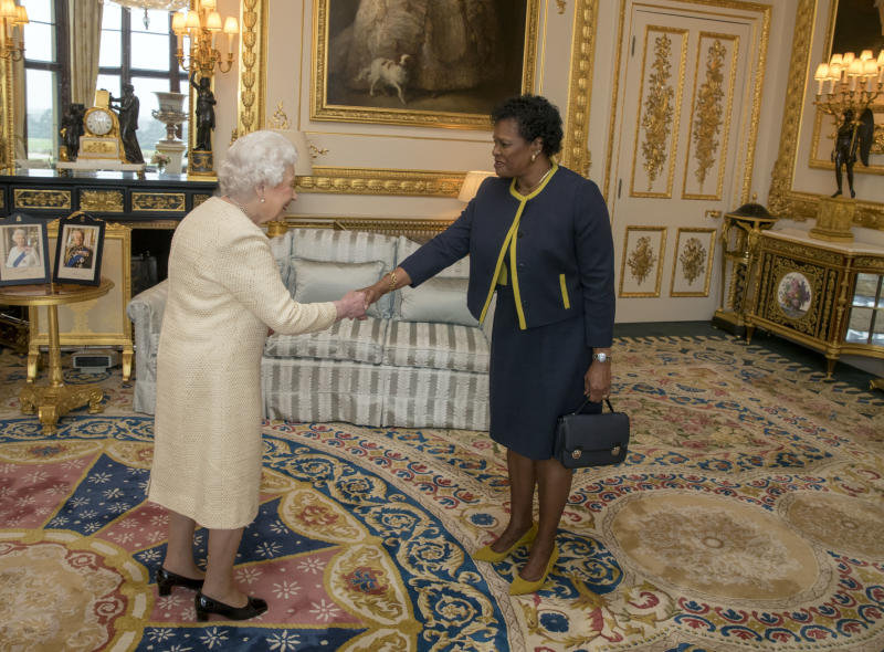 LONDON, UNITED KINGDOM - MARCH 28: Queen Elizabeth II receives Governor-General of Barbados Dame Sandra Mason during a private audience at Buckingham Palace on March 28, 2018 in London, England. (Photo by Steve Parsons - WPA Pool/Getty Images)