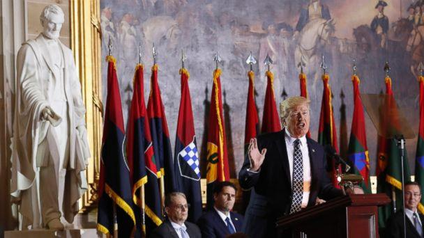 PHOTO: President Donald Trump speaks on Capitol Hill during the United States Holocaust Memorial Museum's National Days of Remembrance ceremony,April 25, 2017, in Washington. (Carolyn Kaster/AP Photo)