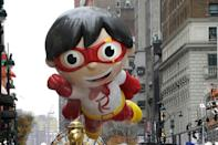 """The """"Red Titan"""" balloon floats during the Macy's Thanksgiving Day Parade in New York on November 26, 2020"""