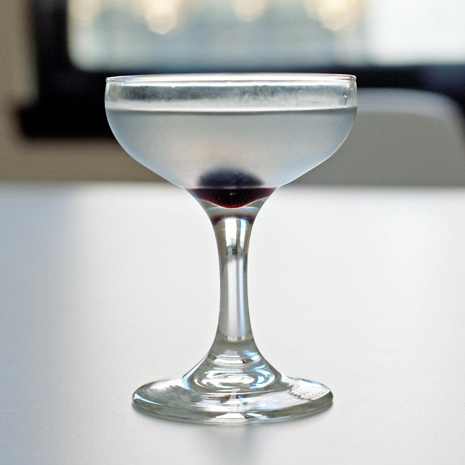 """<p>The <a href=""""https://www.popsugar.com/food/Aviation-Cocktail-Recipe-31082678"""" class=""""link rapid-noclick-resp"""" rel=""""nofollow noopener"""" target=""""_blank"""" data-ylk=""""slk:aviation"""">aviation</a>, a classic Prohibition-era cocktail, consists of: gin, lemon juice, crème de violette, maraschino liqueur, and cherries (no, not the glowingly red sort) mingle into an elegant, lavender-hued beverage that you'll likely either love or hate; the only way to find out is to try it for yourself!</p> <p><strong>Ingredients: </strong></p> <ul> <li>1 1/2 ounces gin</li> <li>1/2 ounce freshly squeezed lemon juice</li> <li>3/4 ounces maraschino liqueur</li> <li>1/4 ounce crème de violette (optional)</li> <li>Maraschino cherry, for garnish</li> </ul> <p><strong>Directions</strong>: Add the gin, lemon juice, maraschino liqueur, and crème de violette to a cocktail shaker filled with ice. Shake until thoroughly chilled, strain into a coupe glass, and garnish with a maraschino cherry.</p>"""