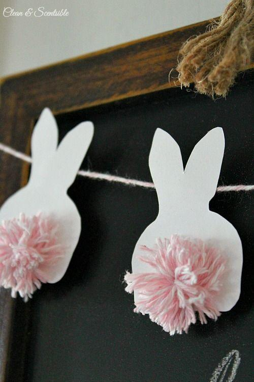 """<p>Give new meaning to the term """"bushy bunny tail"""" with these cleverly placed pom-poms.</p><p><strong>Get the tutorial at <a href=""""http://www.cleanandscentsible.com/2015/03/easter-mini-bunny-bunting.html"""" rel=""""nofollow noopener"""" target=""""_blank"""" data-ylk=""""slk:Clean and Scentsible"""" class=""""link rapid-noclick-resp"""">Clean and Scentsible</a>.</strong></p>"""