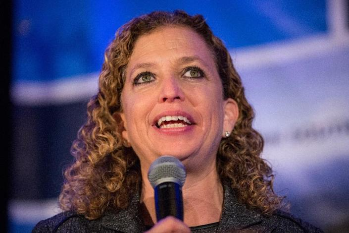 """Debbie Wasserman Schultz, pictured on January 16, 2016, will """"step down as Democratic party chair at the end of this convention,"""" she said in a statement on the eve of the Democratic National Convention (AFP Photo/Andrew Burton)"""