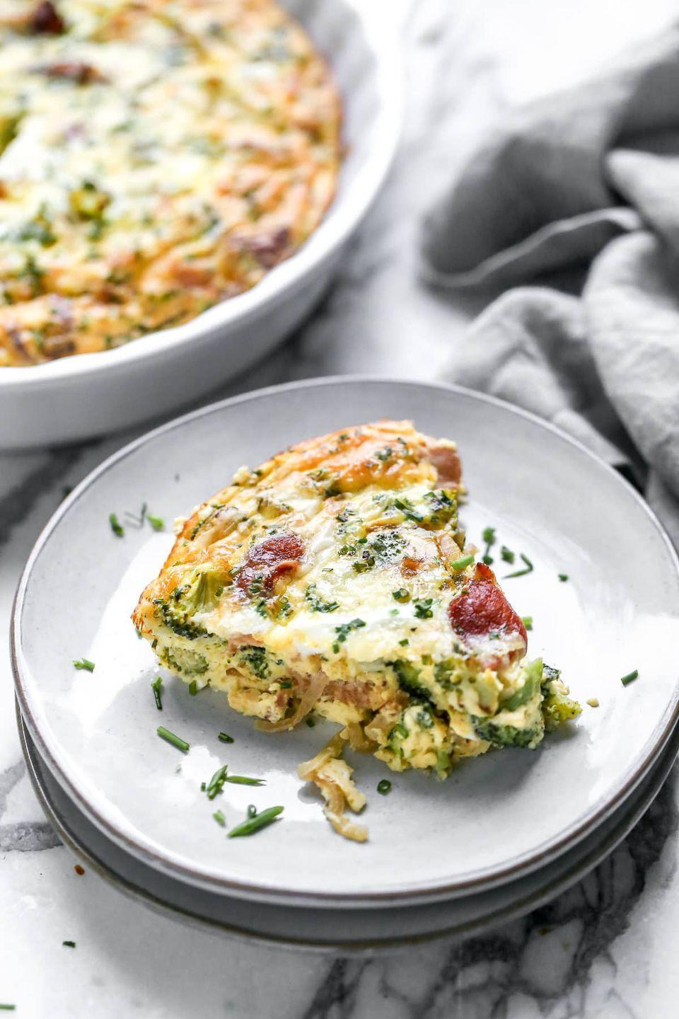 """<p>Quiche is a great way to elevate your weekend brunch, but if you're looking to cut back on carbs, the usual pastry crust might not be for you. Try this quiche instead—you won't miss the crust! <br></p><p><strong>Get the recipe at <a href=""""https://www.wellplated.com/crustless-quiche/"""" rel=""""nofollow noopener"""" target=""""_blank"""" data-ylk=""""slk:Well Plated"""" class=""""link rapid-noclick-resp"""">Well Plated</a>.</strong></p><p><strong><a class=""""link rapid-noclick-resp"""" href=""""https://go.redirectingat.com?id=74968X1596630&url=https%3A%2F%2Fwww.walmart.com%2Fsearch%2F%3Fquery%3Dpioneer%2Bwoman%2Bpie%2Bpan&sref=https%3A%2F%2Fwww.thepioneerwoman.com%2Ffood-cooking%2Fmeals-menus%2Fg34922086%2Fhealthy-breakfast-ideas%2F"""" rel=""""nofollow noopener"""" target=""""_blank"""" data-ylk=""""slk:SHOP PIE PANS"""">SHOP PIE PANS</a><br></strong></p>"""
