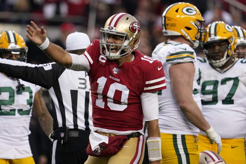San Francisco 49ers quarterback Jimmy Garoppolo (10) will make many people happy if he scores the first touchdown of Super Bowl LIV. (AP Photo/Tony Avelar)